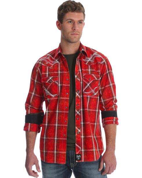 Wrangler Rock 47 Men's Red Embroidered Yoke Plaid Shirt , Red, hi-res