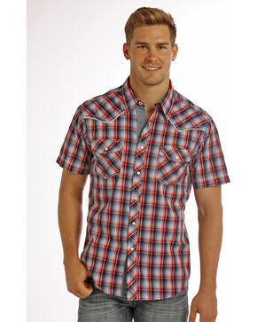 Rock & Roll Cowboy Men's Americana Plaid Short Sleeve Shirt, Blue, hi-res
