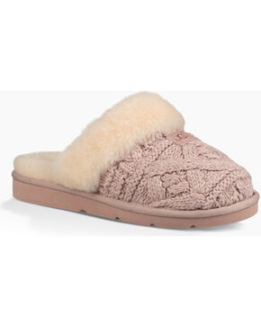 UGG®  Women's Cozy Cable Knit Slippers, Beige/khaki, hi-res