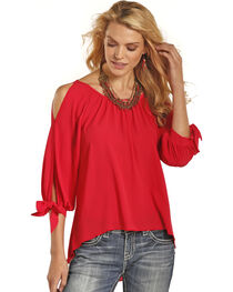 Rock & Roll Cowgirl Women's Coral Cold Shoulder Top , , hi-res