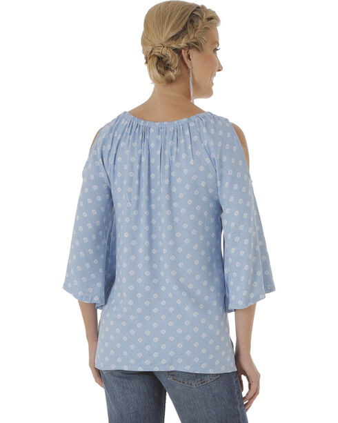Wrangler Women's Tyler Twill Cold Shoulder Printed Top, Blue, hi-res