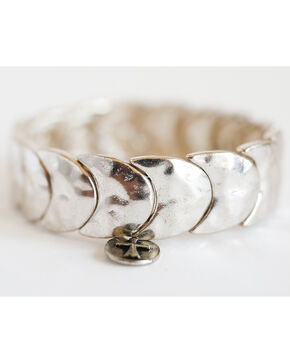 West & Co. Women's Burnished Silver Crescent Stretch Bracelet, Silver, hi-res