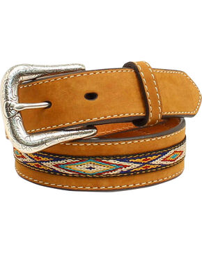 Ariat Boys' Ribbon Overlay Belt, Med Brown, hi-res