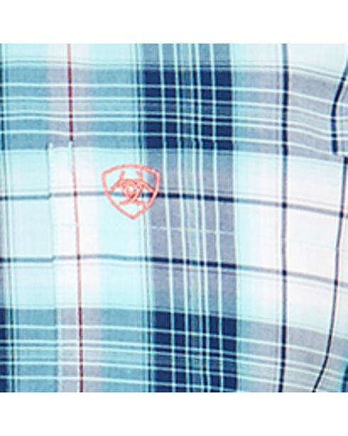 Ariat Men's Aqua Nevil Short Sleeve Shirt , Aqua, hi-res