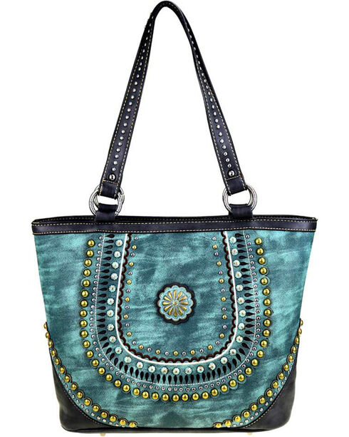 Montana West Women's Turquoise Concealed Handgun Tote , Turquoise, hi-res