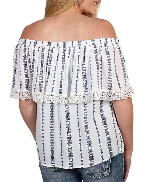 Tempted Women's Striped Off The Shoulder Top, Ivory, hi-res