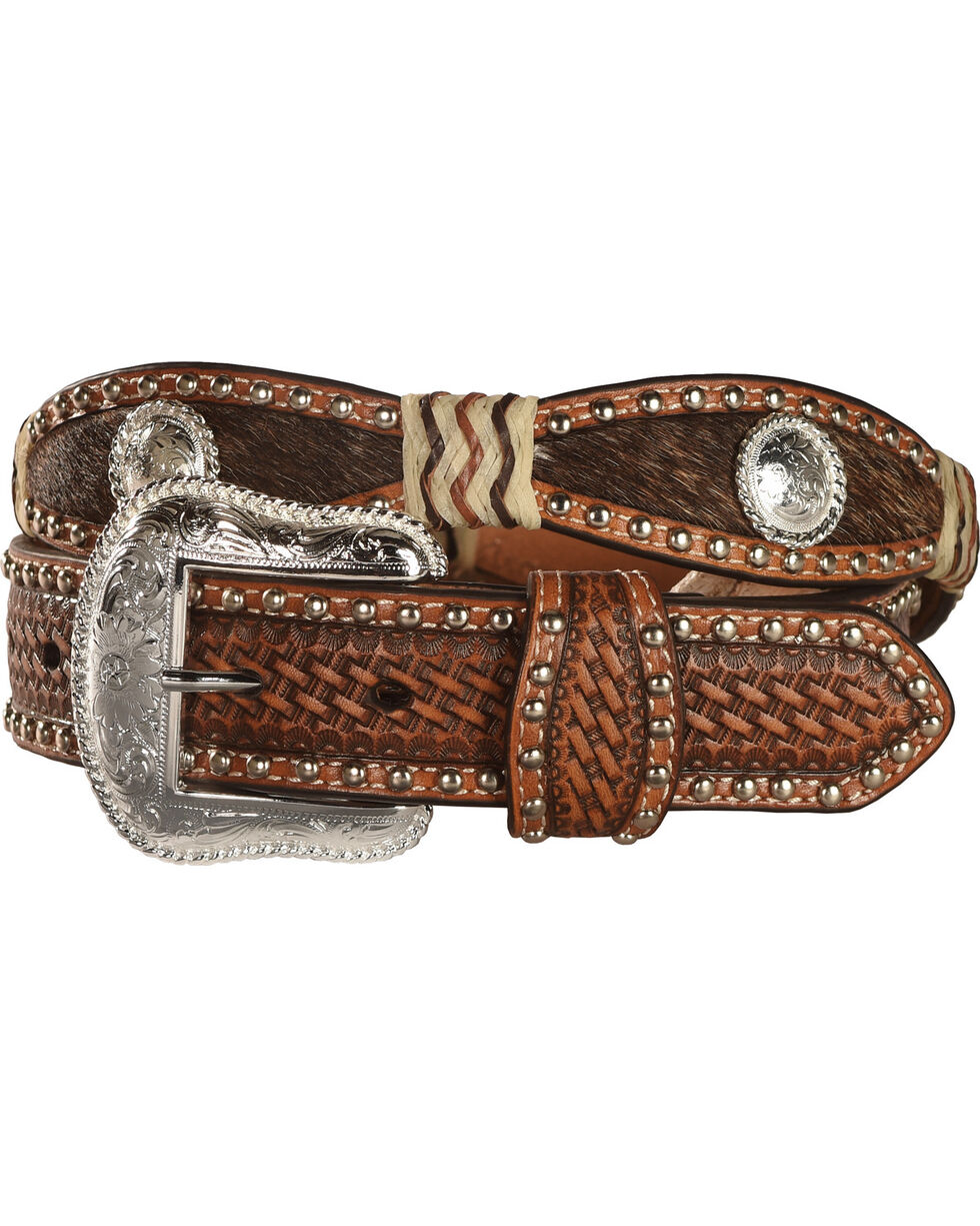 Nocona Women's Scalloped and Hair on Hide Western Belt, Tan, hi-res