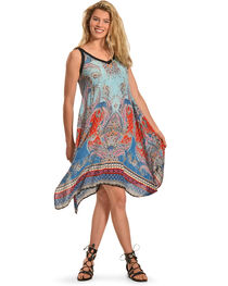 Bila Women's Sleeveless Draped Hem Dress , , hi-res