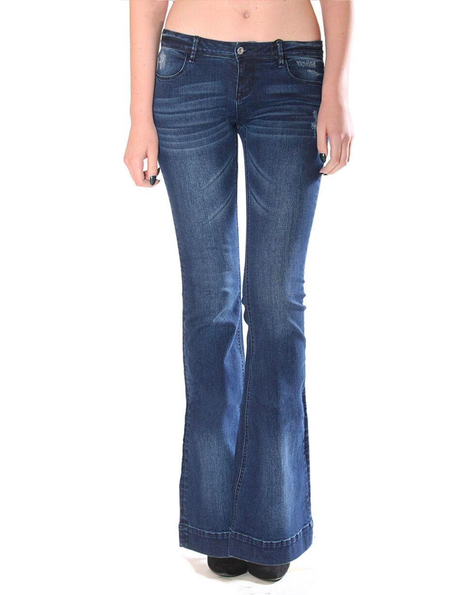 Grace in LA Women's Simple Flare Trousers, Indigo, hi-res