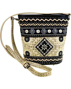 Montana West Women's Floral Embroidered Bucket Shape Crossbody Bag , Black, hi-res