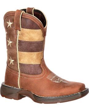 Durango Kids' Americana Western Boots, Brown, hi-res