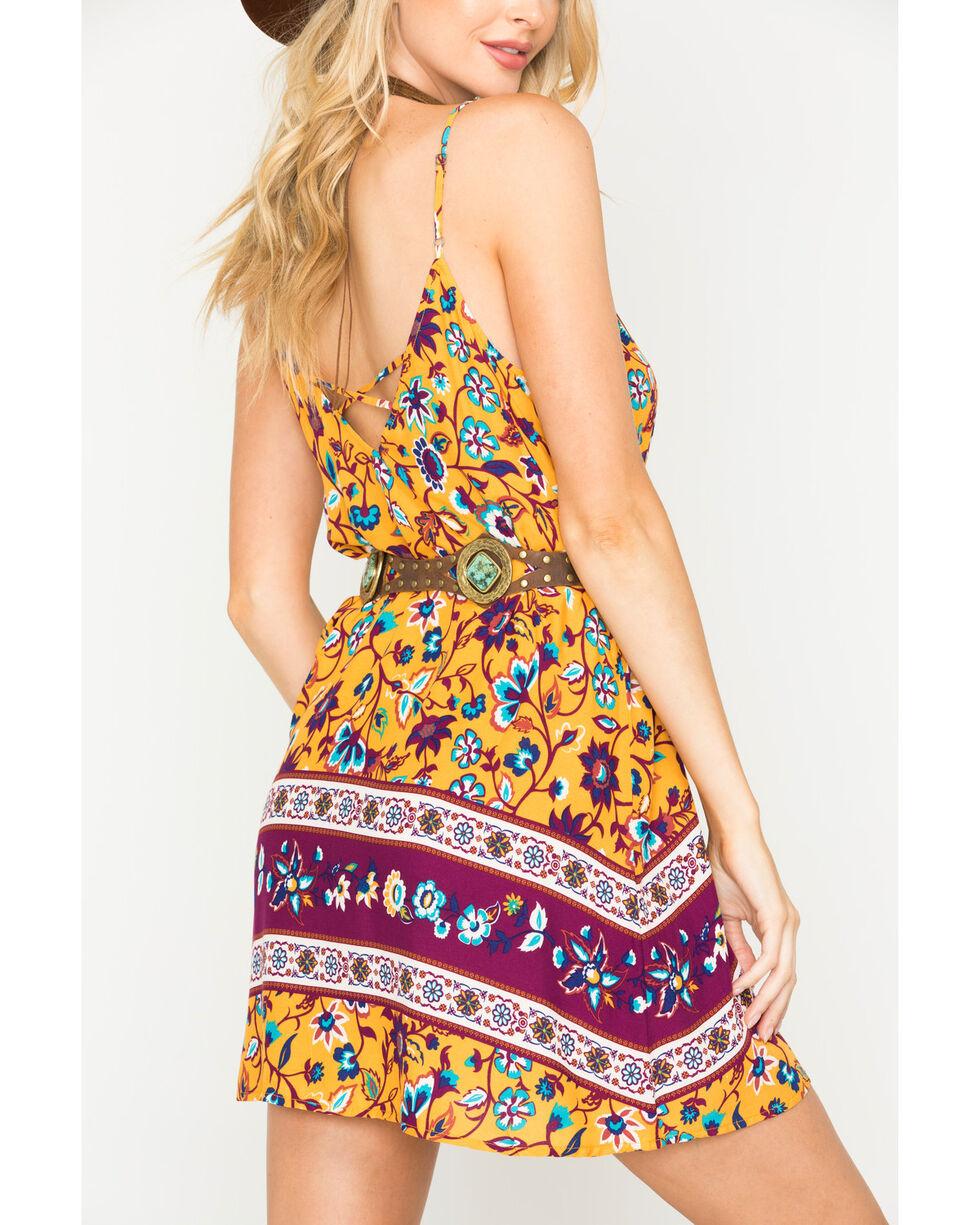 Shyanne Women's Floral Printed Spaghetti Strap Dress , Dark Yellow, hi-res