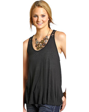 Panhandle Women's Lace & Knit Swing Tank, Black, hi-res