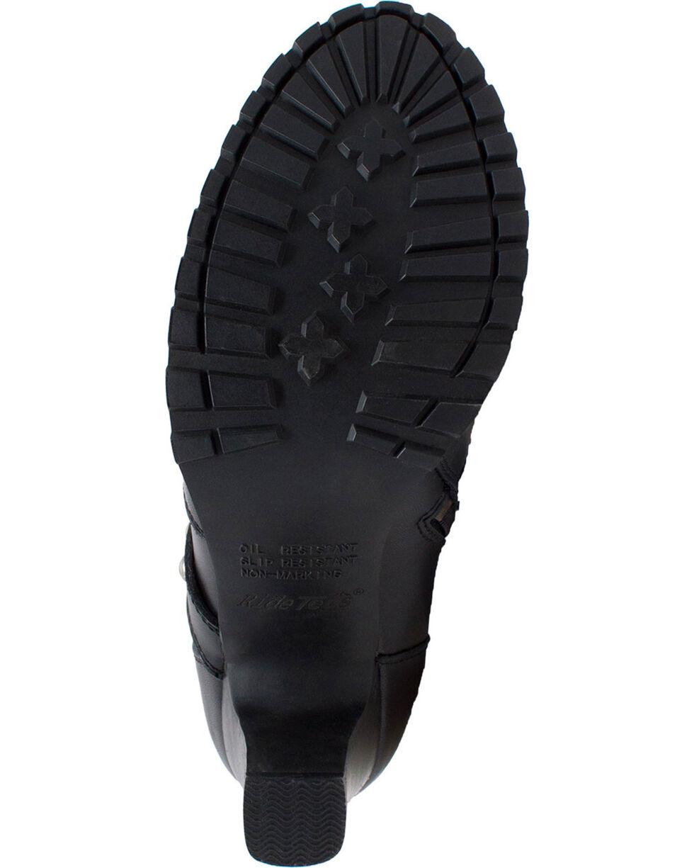 "Ad Tec Women's 10"" Leather Three Buckle Biker Boots - Round Toe, Black, hi-res"