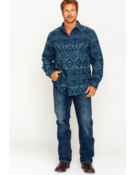 Ryan Michael Men's Blanket Jacquard Shirt , Dark Blue, hi-res