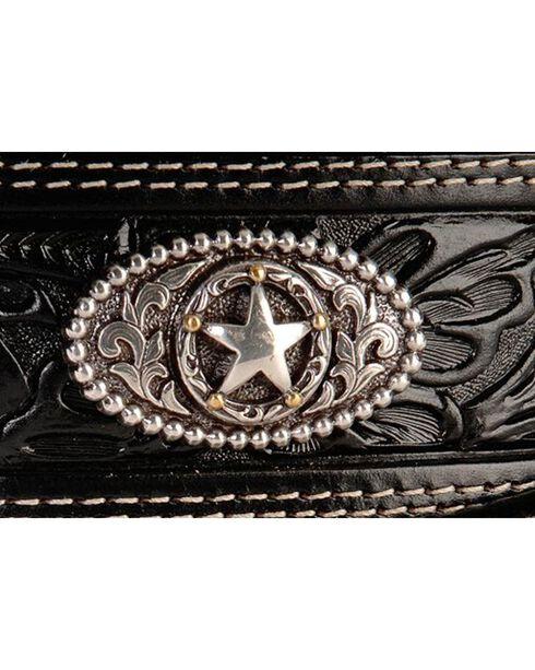 Justin Men's Black Silver Stars Embossed Belt, Black, hi-res