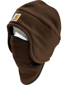Carhartt Men's 2-in-1 Fleece Headwear, Dark Brown, hi-res