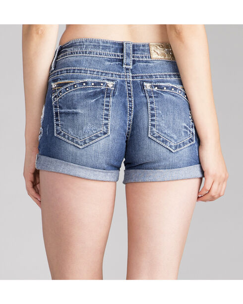 Miss Me Women's Stud Pocket Rolled Cuff Shorts , Indigo, hi-res
