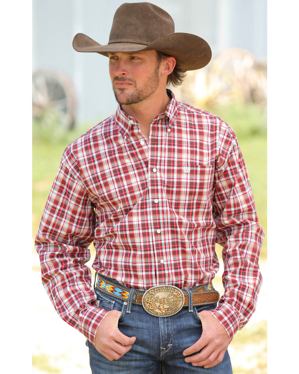Cinch Men's Multi Plain Weave Long Sleeve Shirt , Multi, hi-res