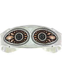 Montana Silversmiths Women's Sunset Prairie Clover Cuff Bracelet, , hi-res
