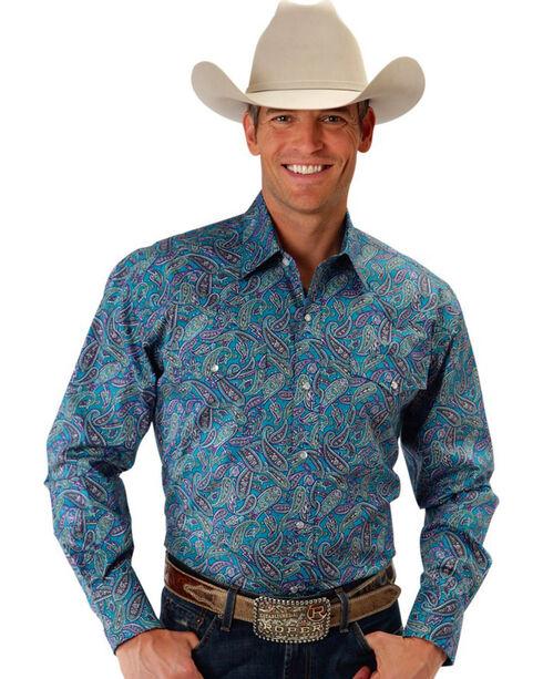 Roper Men's Paisley Wildside Western Shirt, Turquoise, hi-res
