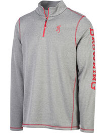 Browning Men's Grey Pitch Quarter Zip Pullover , , hi-res