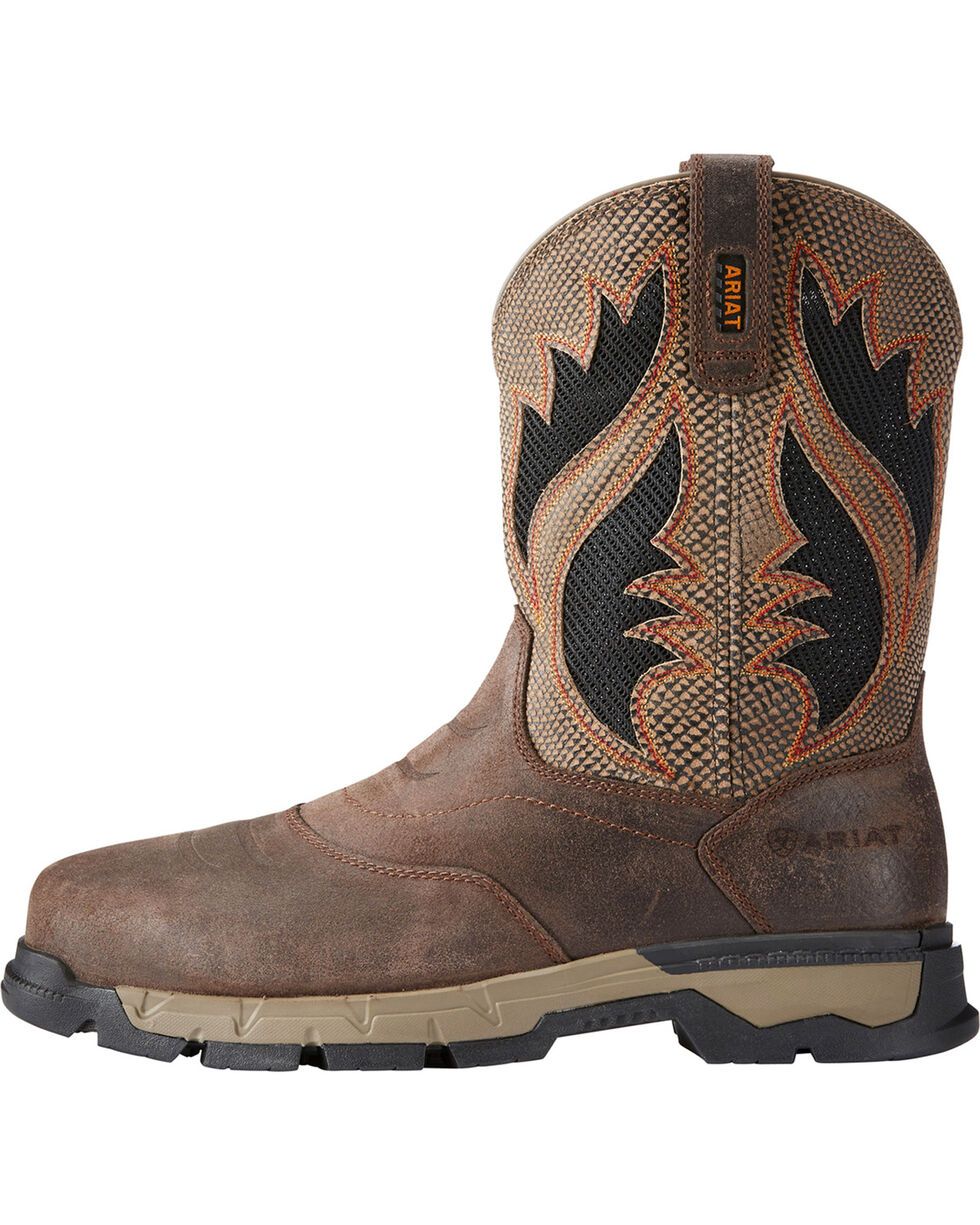 Ariat Men's Rebar Western VentTEK Work Boots - Square Toe, Chocolate, hi-res