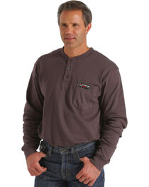 Cinch WRX Flame-Resistant Long Sleeve Henley Shirt, Charcoal Grey, hi-res