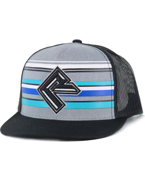 Rock & Roll Cowboy Men's Striped Mesh Trucker Ball Cap, Grey, hi-res