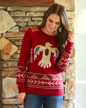 Wrangler Women's Wine Thunderbird Aztec Knit Sweater , Tan, hi-res