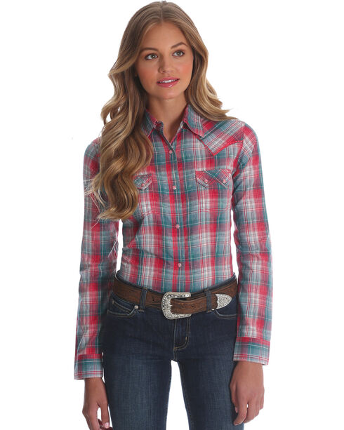 Wrangler Women's Pink Sawtooth Pocket Western Shirt , Pink, hi-res