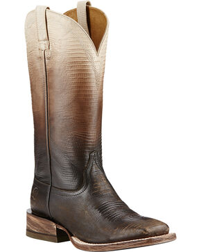 Ariat Women's Ombre Lizard Print Western Boots, Chocolate, hi-res