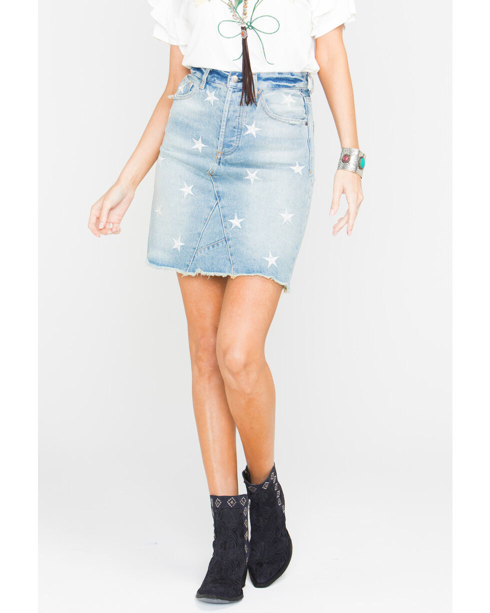 Velvet Heart Women's Star Print Denim Skirt, Blue, hi-res