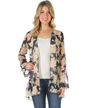 Wrangler Women's Floral Long Sleeve Fashion Duster, Black, hi-res
