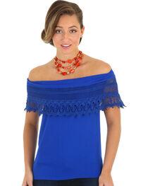 Wrangler Women's Blue Ruffle Off-The-Shoulder Top, , hi-res