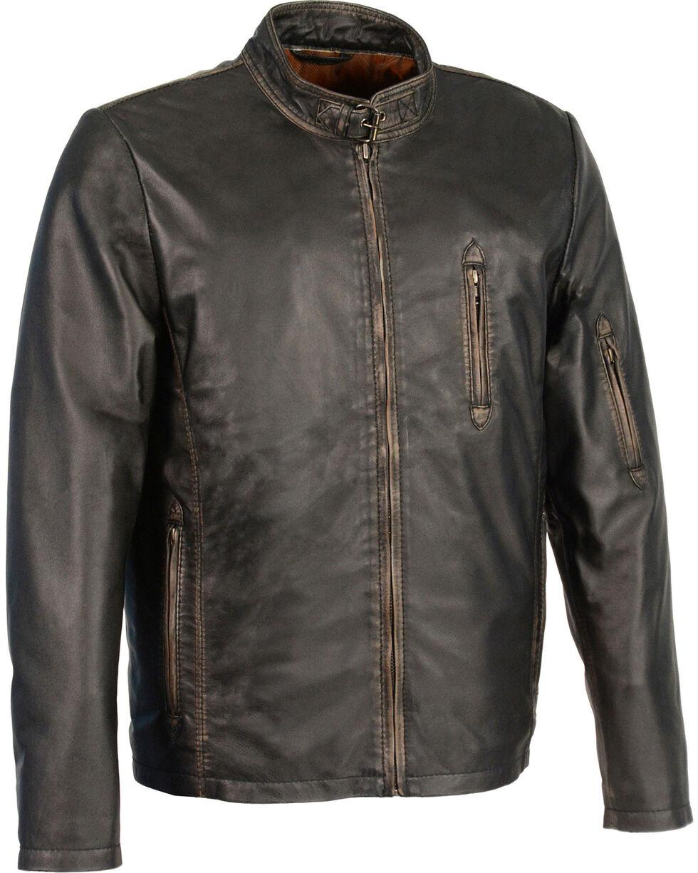Milwaukee Leather Men's Brown Sheepskin Moto Racer Jacket , Black, hi-res