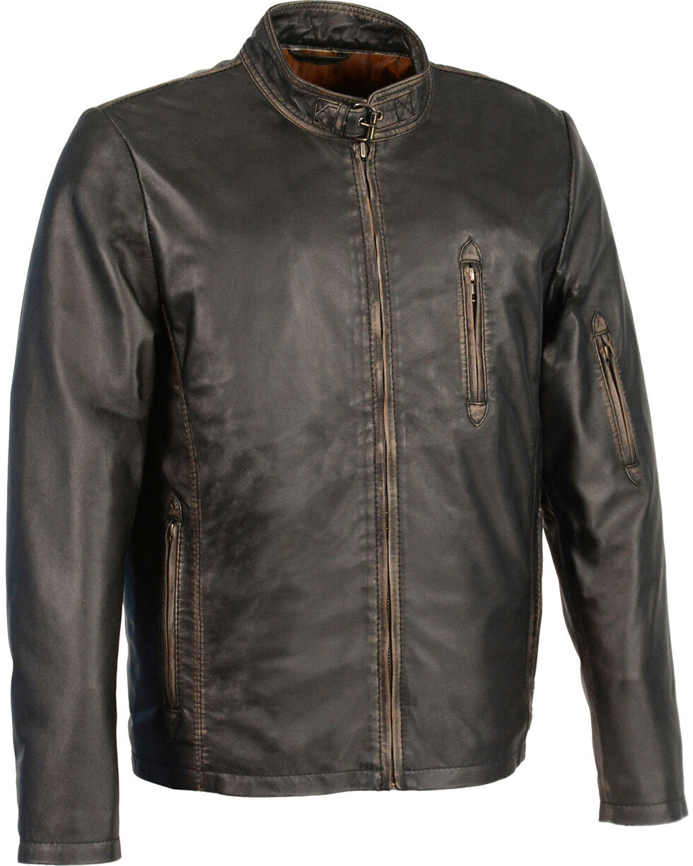 Milwaukee Leather Men's Brown Sheepskin Moto Racer Jacket - Big 3X, Black, hi-res