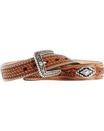 Ariat Sands Saddle Basketweave & Tooled Billets Belt, Tan, hi-res