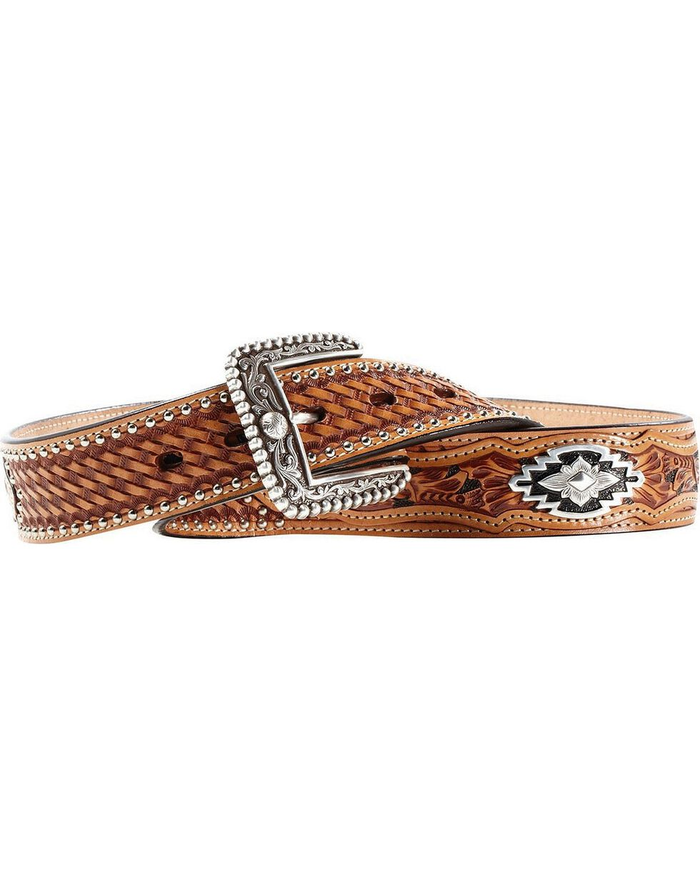 Ariat Sands Saddle Basketweave & Tooled Billets Belt, Tan, hi-res