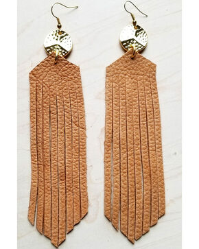 Jewelry Junkie Women's Tan Leather Fringe Earrings  , Tan, hi-res