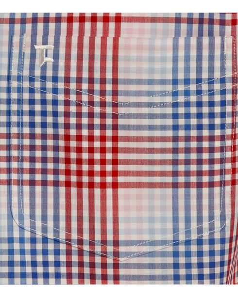 Tuf Cooper Men's Red and Blue Plaid Performance Short Sleeve Shirt , Red, hi-res