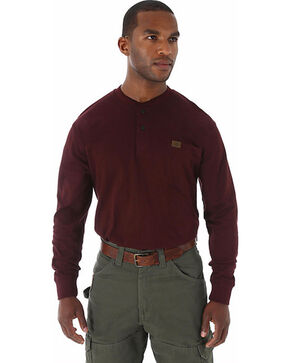 Wrangler Men's Riggs Workwear Burgundy Long Sleeve Henley - Big, Burgundy, hi-res