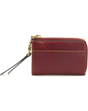 Frye Women's Small Ilana Harness Zip Leather Wallet , Wine, hi-res