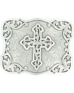Nocona Filigree Cross Buckle, Silver, hi-res