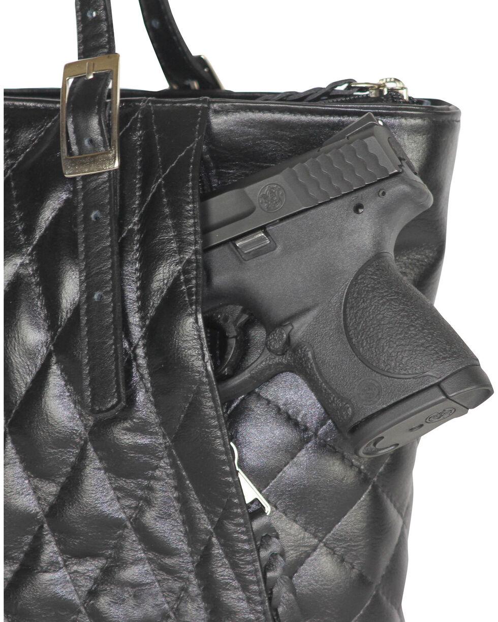 Designer Concealed Carry Quilted Black Uptown Zip Top Tote Bag, Black, hi-res