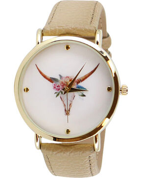 Shyanne® Women's Floral Crown Skull Watch, Beige/khaki, hi-res