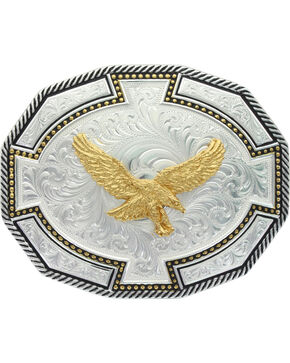 Montana Silversmiths Two Tone Soaring Eagle Bordertown Buckle, Silver, hi-res