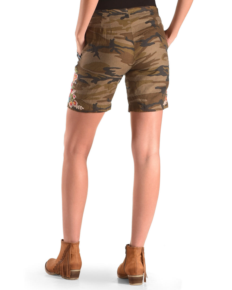 Johnny Was Women's Camo Vernazza Linen Shorts , Camouflage, hi-res