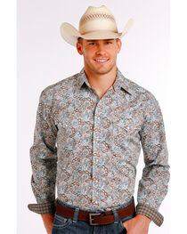 Rough Stock by Panhandle Men's Scroll Patterned Long Sleeve Shirt, , hi-res