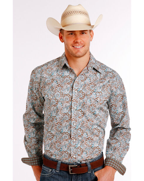 Rough Stock by Panhandle Men's Scroll Patterned Long Sleeve Shirt, Multi, hi-res